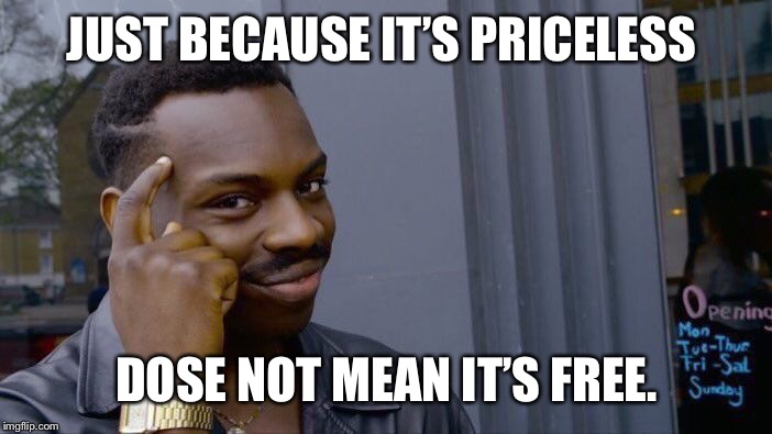 Roll Safe Think About It Meme | JUST BECAUSE IT'S PRICELESS DOSE NOT MEAN IT'S FREE. | image tagged in memes,roll safe think about it | made w/ Imgflip meme maker