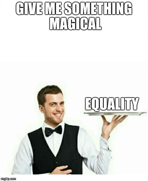 waiter | GIVE ME SOMETHING MAGICAL EQUALITY | image tagged in waiter | made w/ Imgflip meme maker