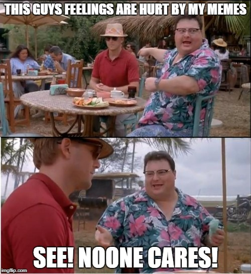 See Nobody Cares Meme | THIS GUYS FEELINGS ARE HURT BY MY MEMES SEE! NOONE CARES! | image tagged in memes,see nobody cares | made w/ Imgflip meme maker