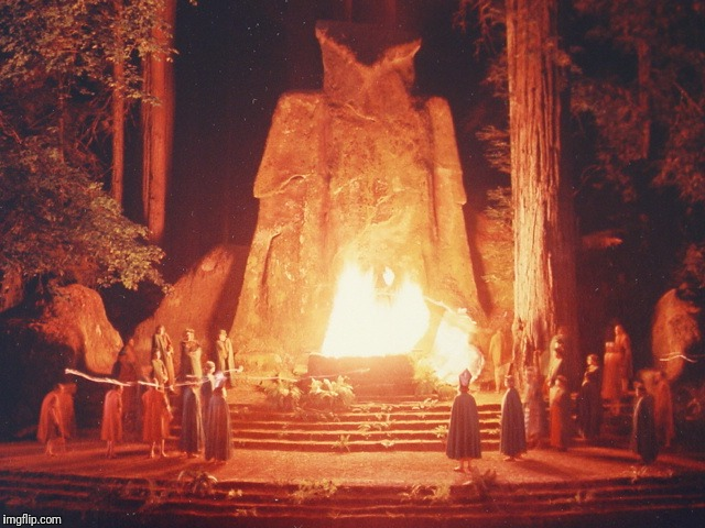 THERE'S A NEW AGE ERA AND ITS COMING IN TERROR YOU CAN'T SEE IT BECAUSE YOU'VE FALLEN FOR ERROR TIME IS SHORT TIME IS KEEN TIME TO LEAVE AND | image tagged in bohemian grove sacrifice ritual to minerva owl | made w/ Imgflip meme maker