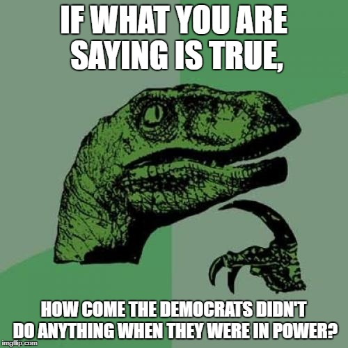 Philosoraptor Meme | IF WHAT YOU ARE SAYING IS TRUE, HOW COME THE DEMOCRATS DIDN'T DO ANYTHING WHEN THEY WERE IN POWER? | image tagged in memes,philosoraptor | made w/ Imgflip meme maker