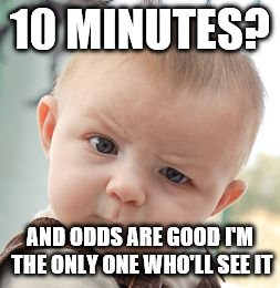 Skeptical Baby Meme | 10 MINUTES? AND ODDS ARE GOOD I'M THE ONLY ONE WHO'LL SEE IT | image tagged in memes,skeptical baby | made w/ Imgflip meme maker