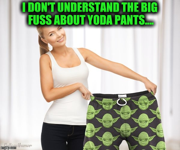 Yoda Pants? | I DON'T UNDERSTAND THE BIG FUSS ABOUT YODA PANTS.... | image tagged in yoda | made w/ Imgflip meme maker
