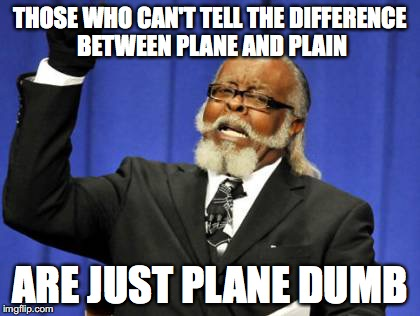 Too Damn High Meme | THOSE WHO CAN'T TELL THE DIFFERENCE BETWEEN PLANE AND PLAIN ARE JUST PLANE DUMB | image tagged in memes,too damn high | made w/ Imgflip meme maker