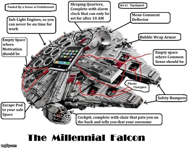 millennial falcon | image tagged in millennials | made w/ Imgflip meme maker