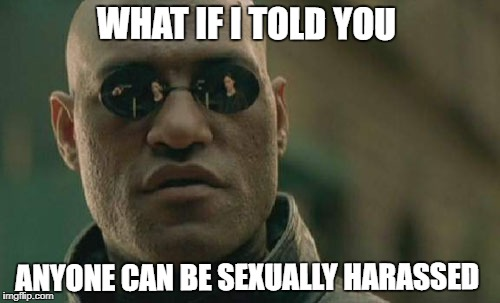 Matrix Morpheus Meme | WHAT IF I TOLD YOU ANYONE CAN BE SEXUALLY HARASSED | image tagged in memes,matrix morpheus | made w/ Imgflip meme maker