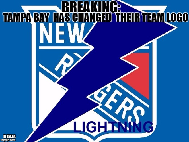 Tampa Bay / NYR | D ZELLA | image tagged in new york,logo,lightning,rangers | made w/ Imgflip meme maker