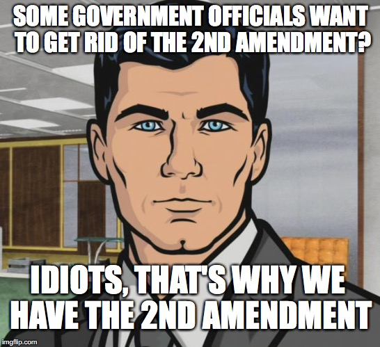 Archer | SOME GOVERNMENT OFFICIALS WANT TO GET RID OF THE 2ND AMENDMENT? IDIOTS, THAT'S WHY WE HAVE THE 2ND AMENDMENT | image tagged in memes,archer | made w/ Imgflip meme maker