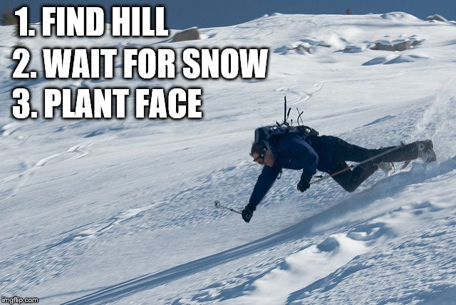 1. FIND HILL 2. WAIT FOR SNOW 3. PLANT FACE | made w/ Imgflip meme maker