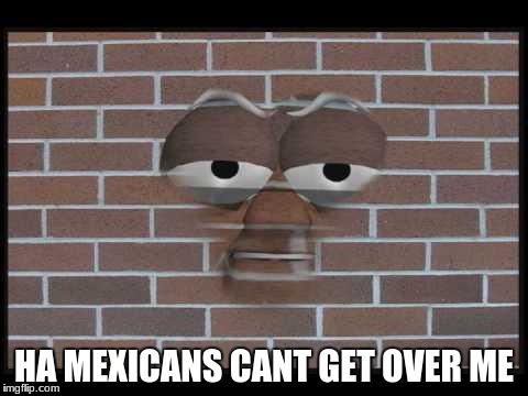 talking brick wall | HA MEXICANS CANT GET OVER ME | image tagged in talking brick wall | made w/ Imgflip meme maker