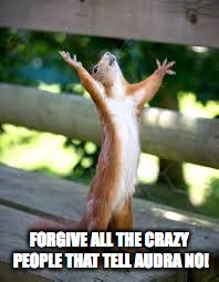 Praise Squirrel | FORGIVE ALL THE CRAZY PEOPLE THAT TELL AUDRA NO! | image tagged in praise squirrel | made w/ Imgflip meme maker