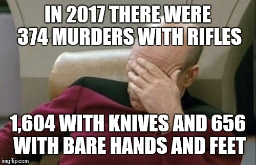 We actually have bigger problems than rifles | IN 2017 THERE WERE 374 MURDERS WITH RIFLES 1,604 WITH KNIVES AND 656 WITH BARE HANDS AND FEET | image tagged in memes,captain picard facepalm | made w/ Imgflip meme maker