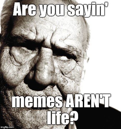 Skeptical old man | Are you sayin' memes AREN'T life? | image tagged in skeptical old man | made w/ Imgflip meme maker