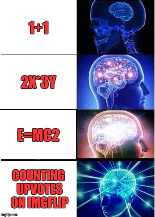 Expanding Brain Meme | 1+1 2X*3Y E=MC2 COUNTING UPVOTES ON IMGFLIP | image tagged in memes,expanding brain | made w/ Imgflip meme maker