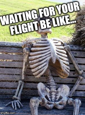 Waiting Skeleton Meme | WAITING FOR YOUR FLIGHT BE LIKE... | image tagged in memes,waiting skeleton | made w/ Imgflip meme maker