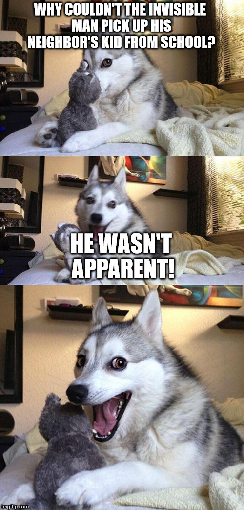 Bad Pun Dog | WHY COULDN'T THE INVISIBLE MAN PICK UP HIS NEIGHBOR'S KID FROM SCHOOL? HE WASN'T APPARENT! | image tagged in bad pun dog | made w/ Imgflip meme maker