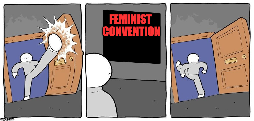 Sandwich Makers UNITE!!! | FEMINIST CONVENTION | image tagged in feminist,sjw,equal rights and lefts | made w/ Imgflip meme maker
