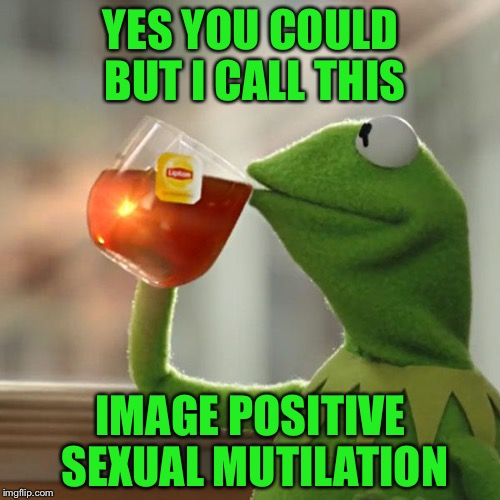 But Thats None Of My Business Meme | YES YOU COULD BUT I CALL THIS IMAGE POSITIVE SEXUAL MUTILATION | image tagged in memes,but thats none of my business,kermit the frog | made w/ Imgflip meme maker