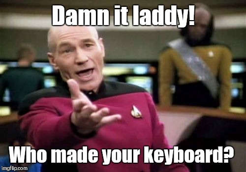 Picard Wtf Meme | Damn it laddy! Who made your keyboard? | image tagged in memes,picard wtf | made w/ Imgflip meme maker