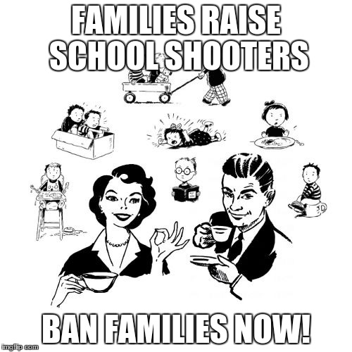 Big Family Comeback | FAMILIES RAISE SCHOOL SHOOTERS BAN FAMILIES NOW! | image tagged in memes,big family comeback | made w/ Imgflip meme maker