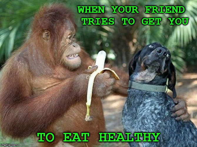 WHEN YOUR FRIEND TRIES TO GET YOU TO EAT HEALTHY | made w/ Imgflip meme maker