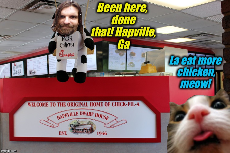 Been here, done that! Hapville, Ga La eat more chicken, meow! | made w/ Imgflip meme maker
