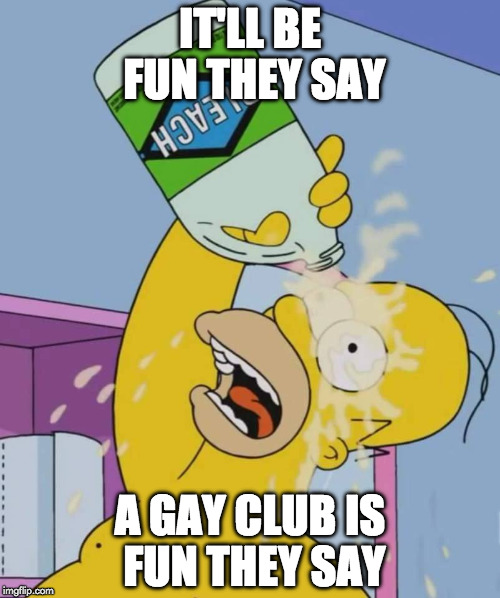 Homer with bleach | IT'LL BE FUN THEY SAY A GAY CLUB IS FUN THEY SAY | image tagged in homer with bleach | made w/ Imgflip meme maker