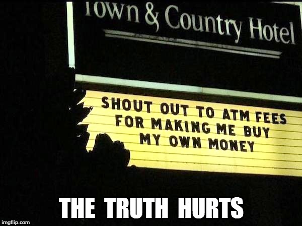 $ $ $  | THE  TRUTH  HURTS | image tagged in first world problems | made w/ Imgflip meme maker