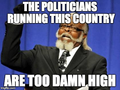 when your country's leaders smoke that dank kush before making decisions | THE POLITICIANS RUNNING THIS COUNTRY ARE TOO DAMN HIGH | image tagged in memes,too damn high | made w/ Imgflip meme maker