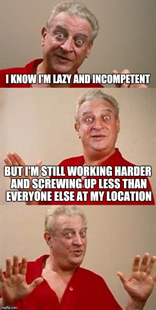 My bosses think I'm great | I KNOW I'M LAZY AND INCOMPETENT BUT I'M STILL WORKING HARDER AND SCREWING UP LESS THAN EVERYONE ELSE AT MY LOCATION | image tagged in bad pun dangerfield,memes | made w/ Imgflip meme maker