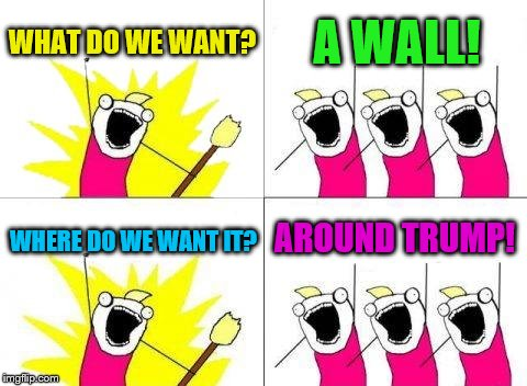 This is about as political as I'm going to get. | WHAT DO WE WANT? A WALL! WHERE DO WE WANT IT? AROUND TRUMP! | image tagged in memes,what do we want,trump,wall | made w/ Imgflip meme maker