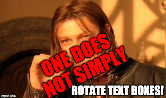 Get Tilted! | ONE DOES NOT SIMPLY ROTATE TEXT BOXES! | image tagged in rotate,text,boxes,memes,one does not simply | made w/ Imgflip meme maker