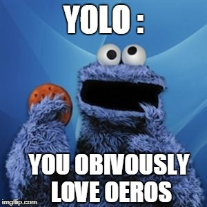 cookie monster | YOLO : YOU OBIVOUSLY LOVE OEROS | image tagged in cookie monster | made w/ Imgflip meme maker