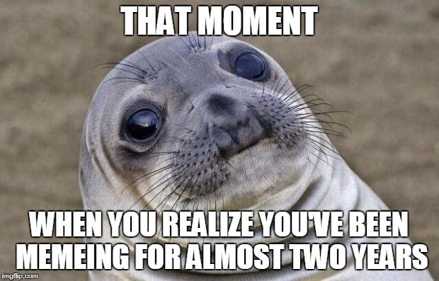Where'd the time go? |  THAT MOMENT; WHEN YOU REALIZE YOU'VE BEEN MEMEING FOR ALMOST TWO YEARS | image tagged in memes,awkward moment sealion,memeing,good times | made w/ Imgflip meme maker