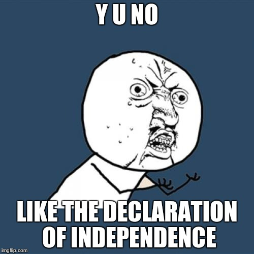 Y U No Meme | Y U NO LIKE THE DECLARATION OF INDEPENDENCE | image tagged in memes,y u no | made w/ Imgflip meme maker