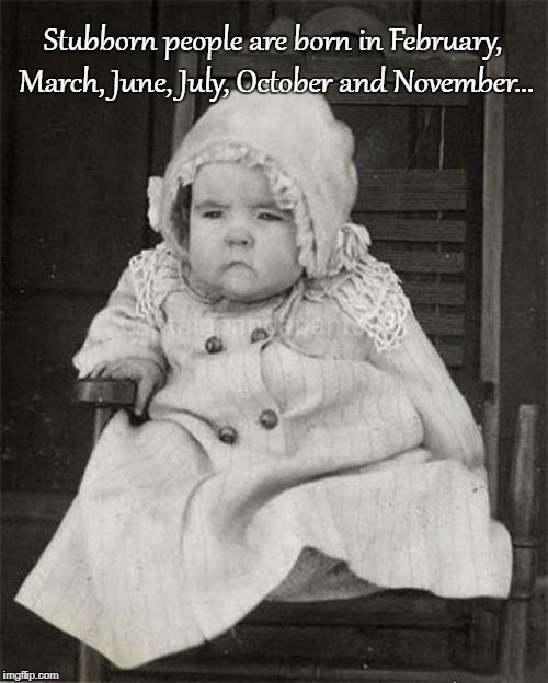 Stubborn... | Stubborn people are born in February, March, June, July, October and November... | image tagged in born,months | made w/ Imgflip meme maker