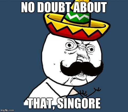 Y U no Mexican | NO DOUBT ABOUT THAT, SINGORE | image tagged in y u no mexican | made w/ Imgflip meme maker