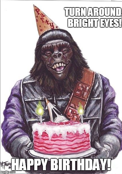 Apes Birthday | TURN AROUND, BRIGHT EYES! HAPPY BIRTHDAY! | image tagged in planet of the apes,funny,happy birthday | made w/ Imgflip meme maker