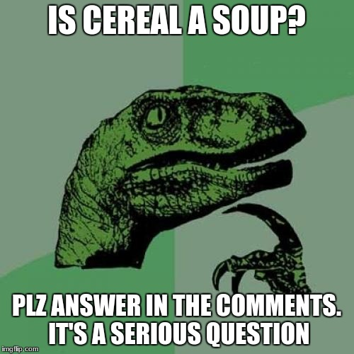 this is so important! | IS CEREAL A SOUP? PLZ ANSWER IN THE COMMENTS. IT'S A SERIOUS QUESTION | image tagged in memes,philosoraptor | made w/ Imgflip meme maker