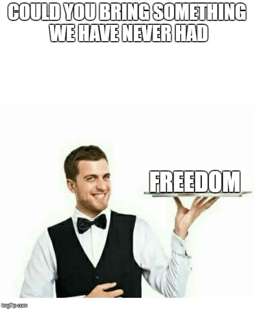 waiter | COULD YOU BRING SOMETHING WE HAVE NEVER HAD FREEDOM | image tagged in waiter | made w/ Imgflip meme maker