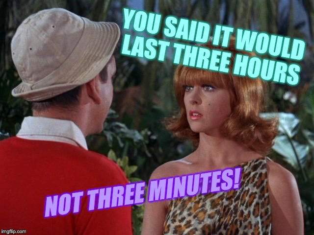 Thanks for nothing Little Buddy! | YOU SAID IT WOULD LAST THREE HOURS NOT THREE MINUTES! | image tagged in gilligan's island,ginger,tv humor,redhead | made w/ Imgflip meme maker