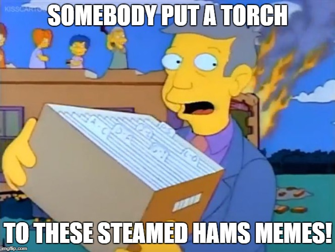 Somebody Put a Torch to these Steamed Hams Memes! | SOMEBODY PUT A TORCH TO THESE STEAMED HAMS MEMES! | image tagged in sombody put a torch to these permanent records,simpsons,skinner | made w/ Imgflip meme maker
