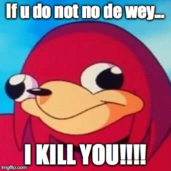 If u do not no de wey... I KILL YOU!!!! | image tagged in uganda knuckles | made w/ Imgflip meme maker
