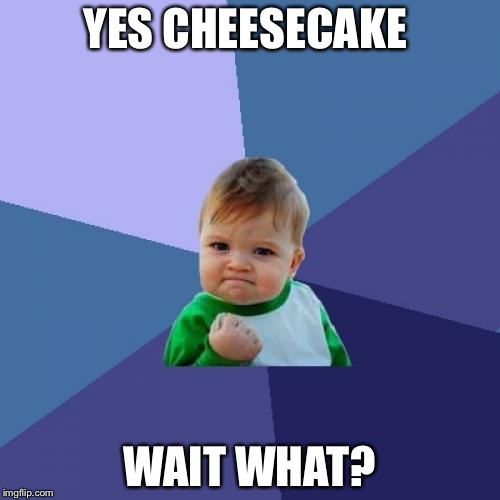 Success Kid Meme | YES CHEESECAKE WAIT WHAT? | image tagged in memes,success kid | made w/ Imgflip meme maker