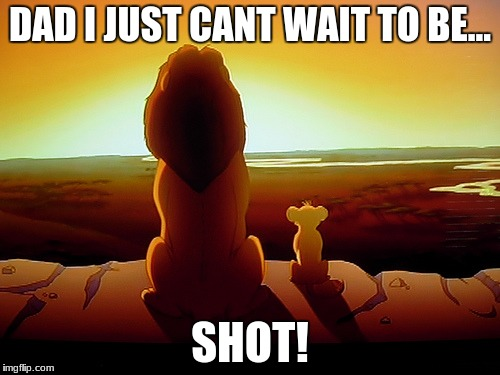 Lion King Meme | DAD I JUST CANT WAIT TO BE... SHOT! | image tagged in memes,lion king | made w/ Imgflip meme maker