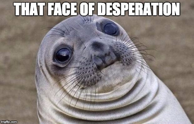 Awkward Moment Sealion Meme | THAT FACE OF DESPERATION | image tagged in memes,awkward moment sealion | made w/ Imgflip meme maker