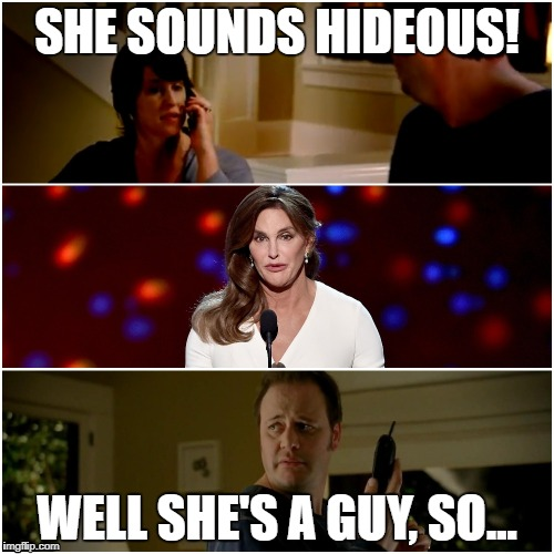 SHE SOUNDS HIDEOUS! WELL SHE'S A GUY, SO... | image tagged in caitlyn jenner,jake from state farm | made w/ Imgflip meme maker