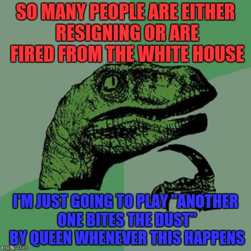 "Philosoraptor Meme | SO MANY PEOPLE ARE EITHER RESIGNING OR ARE FIRED FROM THE WHITE HOUSE I'M JUST GOING TO PLAY ""ANOTHER ONE BITES THE DUST"" BY QUEEN WHENEVER  