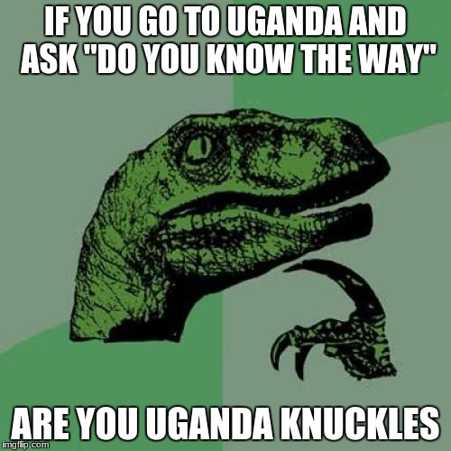 Philosoraptor Meme | IF YOU GO TO UGANDA AND ASK ''DO YOU KNOW THE WAY'' ARE YOU UGANDA KNUCKLES | image tagged in memes,philosoraptor | made w/ Imgflip meme maker
