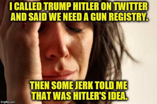 HISTORY 101 | I CALLED TRUMP HITLER ON TWITTER AND SAID WE NEED A GUN REGISTRY. THEN SOME JERK TOLD ME THAT WAS HITLER'S IDEA. | image tagged in memes,first world problems,liberals,trump | made w/ Imgflip meme maker